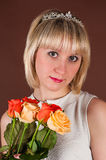 Attractive girl with bouquet roses Royalty Free Stock Image