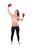 Attractive girl with boxing gloves Stock Image