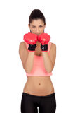 Attractive girl with boxing gloves Stock Images