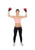 Attractive girl with boxing gloves Royalty Free Stock Photo