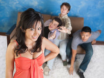 Attractive Girl with Boyfriends Stock Image