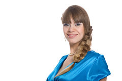 Attractive girl with braided hair in a braid Royalty Free Stock Image