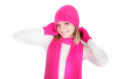 Attractive girl in bright hat and scarf Royalty Free Stock Images