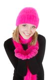 Attractive girl in bright hat and scarf Royalty Free Stock Photo