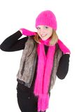 Attractive girl in bright hat and scarf Stock Images