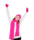 Attractive girl in bright hat and scarf Royalty Free Stock Image