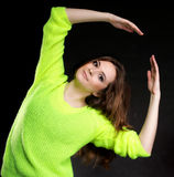 Attractive girl in bright vivid colour sweater Stock Images