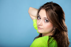 Attractive girl in bright vivid colour sweater Royalty Free Stock Images