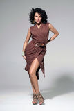 Attractive girl in brown dress Royalty Free Stock Photography
