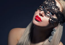 Attractive girl in carnival mask Royalty Free Stock Photos