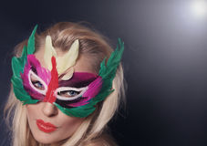 Attractive girl in carnival mask posing. Stock Photos