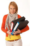 Attractive girl carries file folders Stock Photos