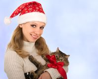 Attractive girl with a cat Royalty Free Stock Photography