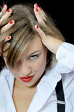 Attractive girl corrects hairstyle Stock Photos