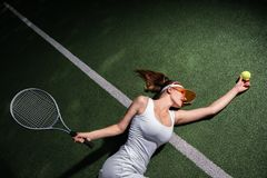 Attractive girl on the court stock images
