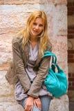 Attractive girl in courtyard  the Palazzo della Ragione Stock Images