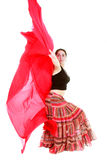 Attractive girl dancing with red scarf Royalty Free Stock Photos