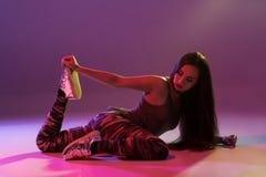 Attractive girl dancing twerk in the studio. Dancing. Hobby stock photo