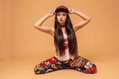 Attractive girl dancing twerk in the studio. Dancing. Hobby royalty free stock image