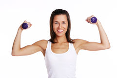Attractive girl doing fitness exercises Royalty Free Stock Images