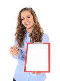 Attractive girl doing a survey. Attractive teenage girl doing a survey. All on white background royalty free stock images