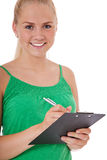 Attractive girl doing a survey Royalty Free Stock Photography