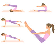Attractive girl doing various pilates exercises Royalty Free Stock Photography