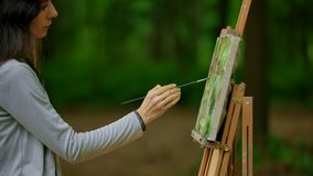 Attractive girl drawing a landscape on the nature in the forest. A brunette woman drives a brush over the canvas to finishing her work. Middle side view stock video