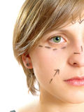Attractive girl drawn for plastic surgery Royalty Free Stock Photography
