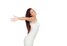 Attractive girl dressed in white Stock Photo