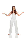 Attractive girl dressed in white practicing yoga Royalty Free Stock Photography