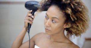 Attractive Girl Dries Hair Stock Photos