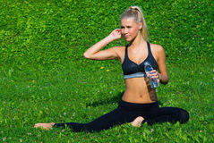 Attractive girl drinking water Stock Photo