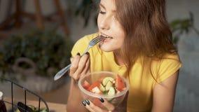 Attractive Girl Eats Salad stock video