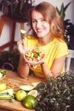 Attractive Girl Eats Salad Stock Photos