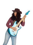 Attractive girl with electric guitar playing country music. Isolated on white background Royalty Free Stock Images