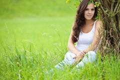 Attractive girl enjoys nature Stock Photo