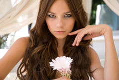 Attractive girl with flower Stock Photos