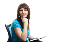 Attractive girl with a folder Royalty Free Stock Images