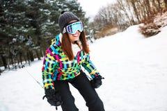 Girl freeride on ski at beautiful high montain Royalty Free Stock Photos