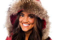 Attractive girl in fur hood Stock Photo