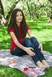 Attractive girl in the garden. Stock Image