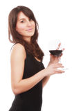 Attractive girl with glass of wine Royalty Free Stock Image