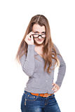 Attractive girl in glasses Stock Images