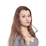 Attractive girl in glasses Royalty Free Stock Photos