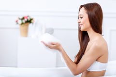 Attractive girl going to take a bath Royalty Free Stock Image