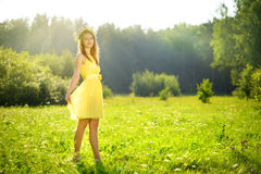 attractive girl on a green meadow Royalty Free Stock Photos