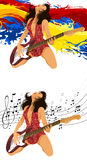 Attractive girl with a guitar Stock Photos