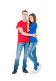 Attractive girl and a handsome guy isolated on white Royalty Free Stock Photos