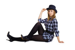 Attractive girl in the hat Stock Photography
